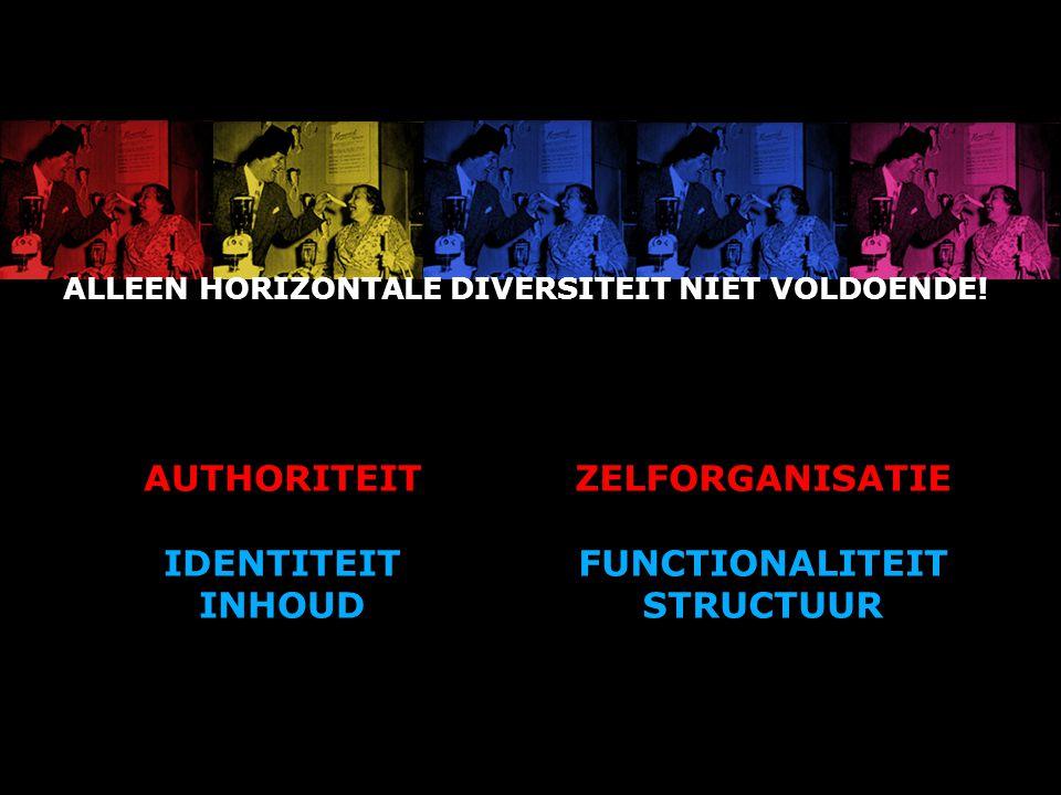 ALLEEN HORIZONTALE DIVERSITEIT NIET VOLDOENDE! AUTHORITEIT IDENTITEIT INHOUD ZELFORGANISATIE FUNCTIONALITEIT STRUCTUUR