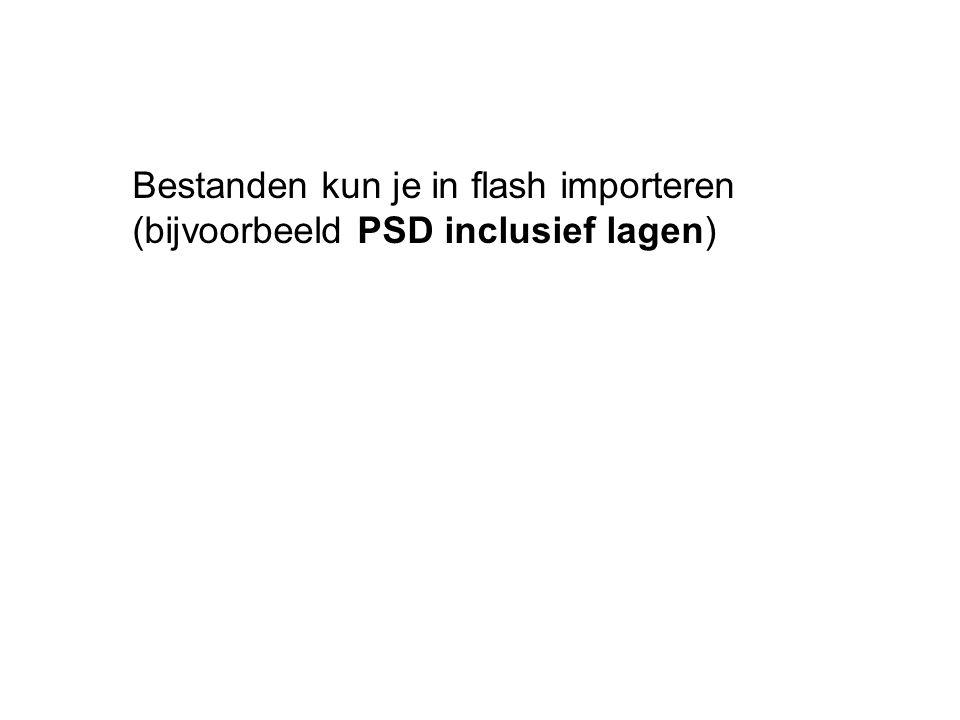 Bestanden kun je in flash importeren (bijvoorbeeld PSD inclusief lagen)