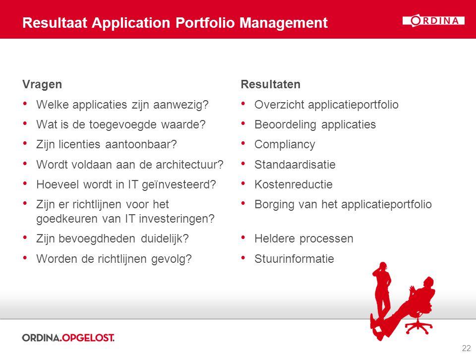 22 Resultaat Application Portfolio Management Vragen Welke applicaties zijn aanwezig? Wat is de toegevoegde waarde? Zijn licenties aantoonbaar? Wordt