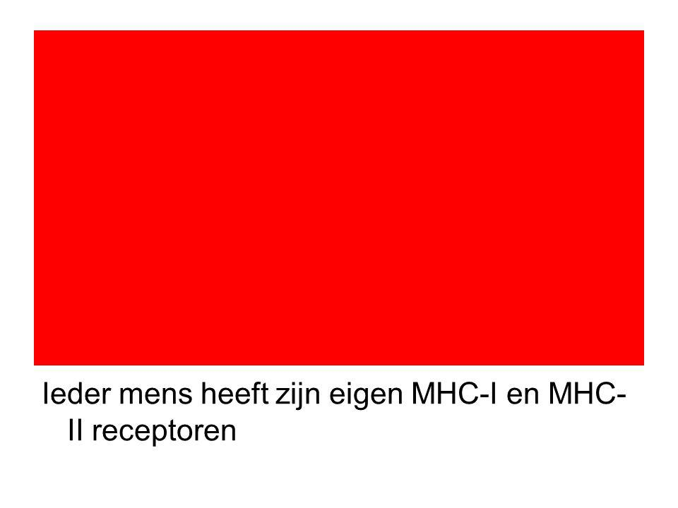 Ieder mens heeft zijn eigen MHC-I en MHC- II receptoren