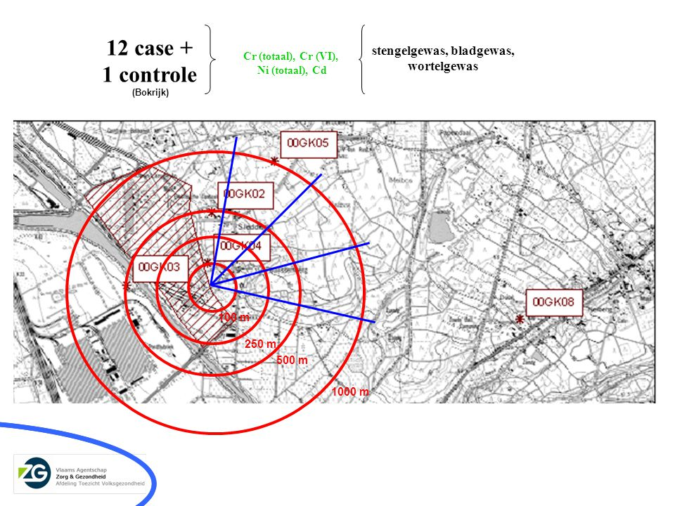 12 case + 1 controle 100 m 250 m 500 m 1000 m Cr (totaal), Cr (VI), Ni (totaal), Cd stengelgewas, bladgewas, wortelgewas (Bokrijk)