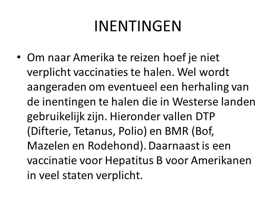 INENTINGEN Om naar Amerika te reizen hoef je niet verplicht vaccinaties te halen. Wel wordt aangeraden om eventueel een herhaling van de inentingen te