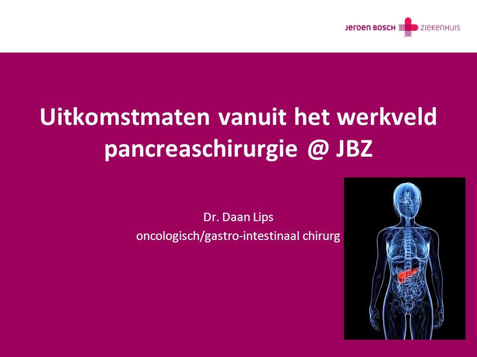 Uitkomstmaten vanuit het werkveld pancreaschirurgie @ JBZ Dr. Daan Lips oncologisch/gastro-intestinaal chirurg