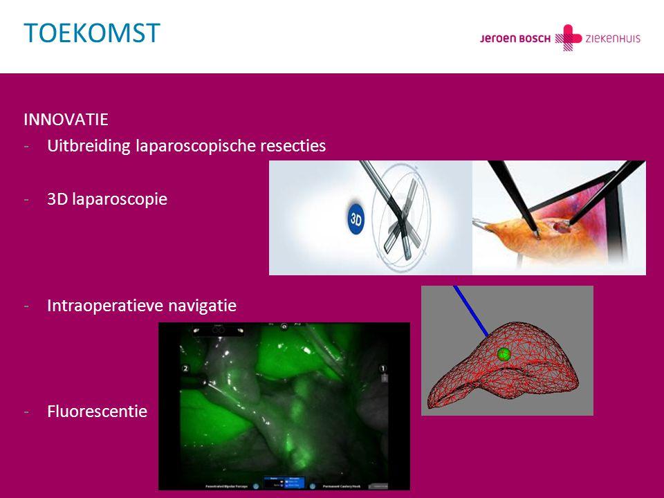 INNOVATIE -Uitbreiding laparoscopische resecties -3D laparoscopie -Intraoperatieve navigatie -Fluorescentie TOEKOMST