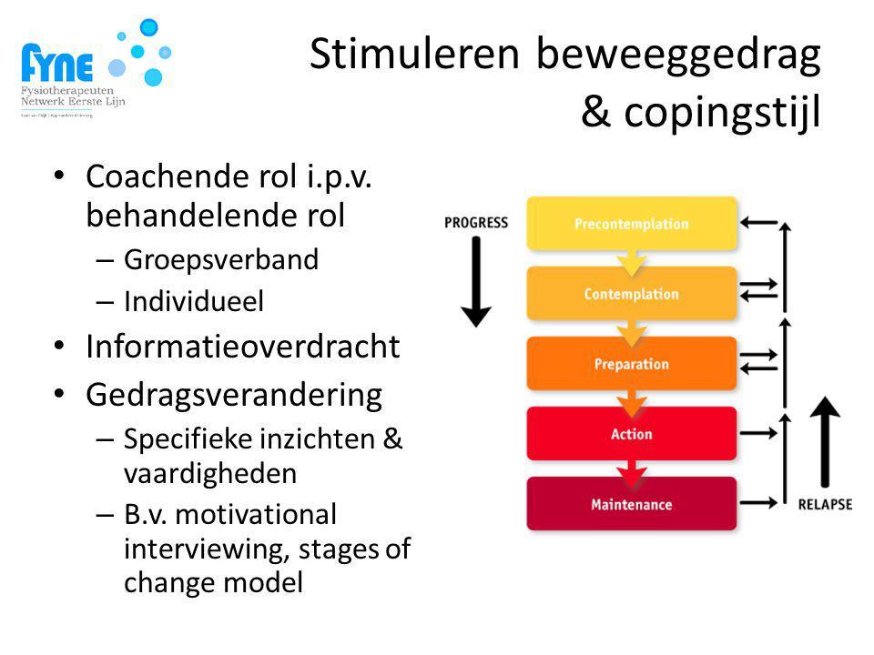 Stimuleren beweeggedrag & copingstijl Coachende rol i.p.v.