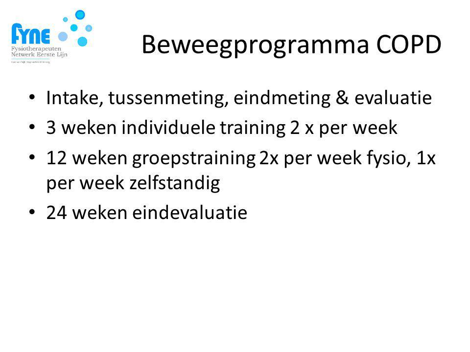 Beweegprogramma COPD Intake, tussenmeting, eindmeting & evaluatie 3 weken individuele training 2 x per week 12 weken groepstraining 2x per week fysio, 1x per week zelfstandig 24 weken eindevaluatie