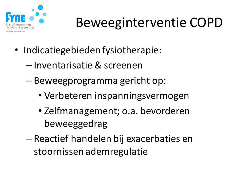 Beweeginterventie COPD Indicatiegebieden fysiotherapie: – Inventarisatie & screenen – Beweegprogramma gericht op: Verbeteren inspanningsvermogen Zelfmanagement; o.a.