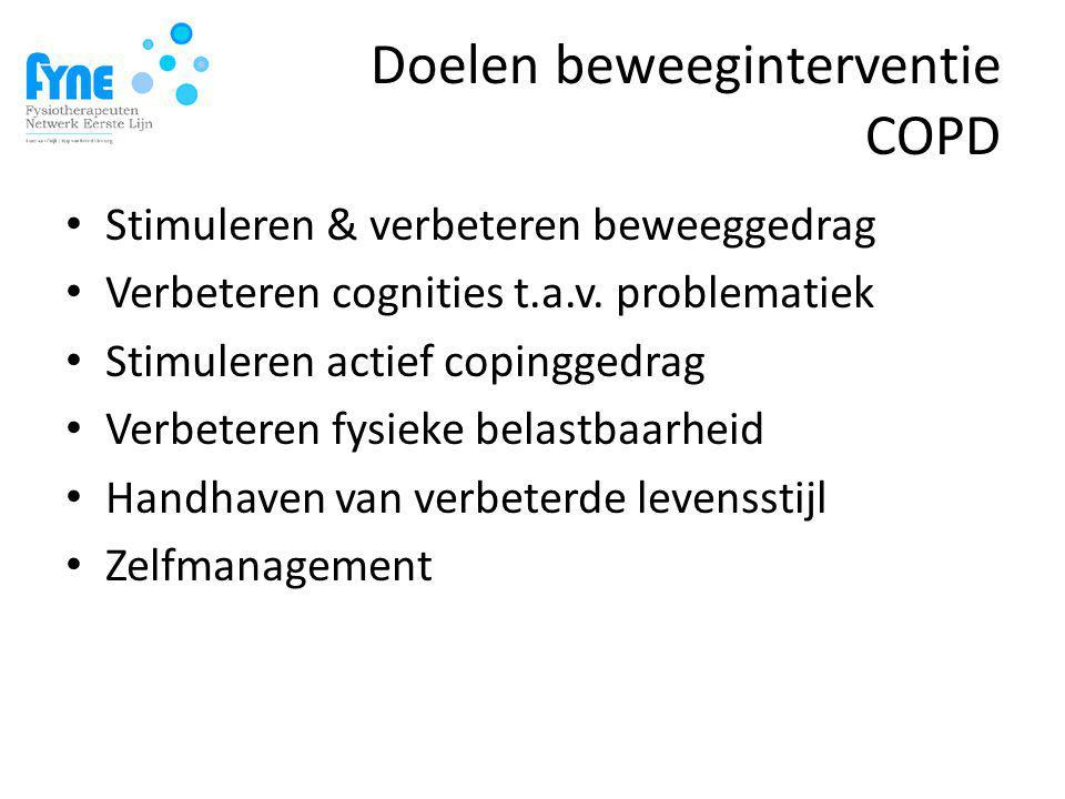 Doelen beweeginterventie COPD Stimuleren & verbeteren beweeggedrag Verbeteren cognities t.a.v.