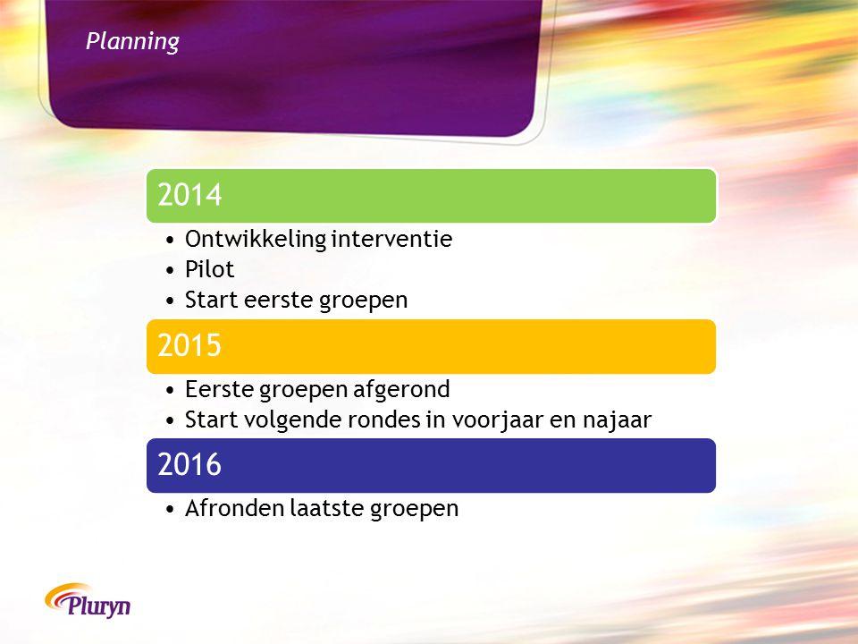 Planning 2014 Ontwikkeling interventie Pilot Start eerste groepen 2015 Eerste groepen afgerond Start volgende rondes in voorjaar en najaar 2016 Afronden laatste groepen