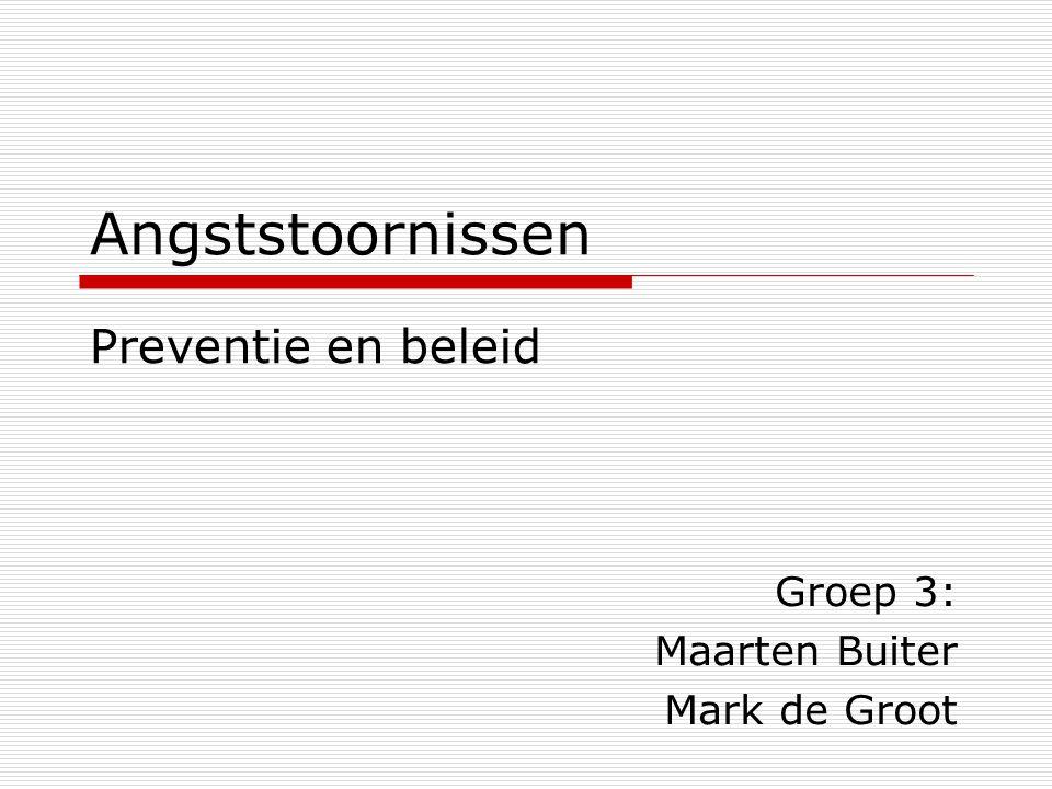 Angststoornissen Groep 3: Maarten Buiter Mark de Groot Preventie en beleid