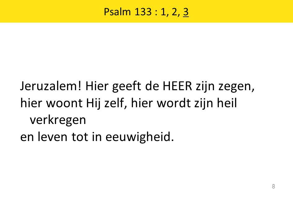 Jeruzalem! Hier geeft de HEER zijn zegen, hier woont Hij zelf, hier wordt zijn heil verkregen en leven tot in eeuwigheid. 8 Psalm 133 : 1, 2, 3