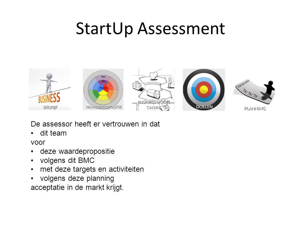 StartUp Assessment De assessor heeft er vertrouwen in dat dit team voor deze waardepropositie volgens dit BMC met deze targets en activiteiten volgens
