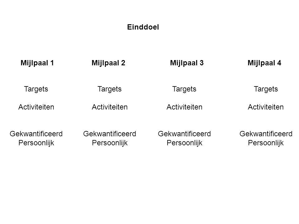 Mijlpaal 1Mijlpaal 2 Mijlpaal 3 Mijlpaal 4 Targets Activiteiten Gekwantificeerd Persoonlijk Targets Activiteiten Gekwantificeerd Persoonlijk Targets A