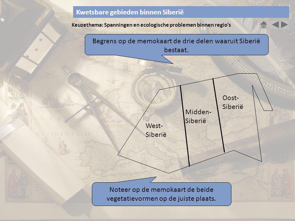Keuzethema: Spanningen en ecologische problemen binnen regio's Begrens op de memokaart de drie delen waaruit Siberië bestaat. West- Siberië Midden- Si