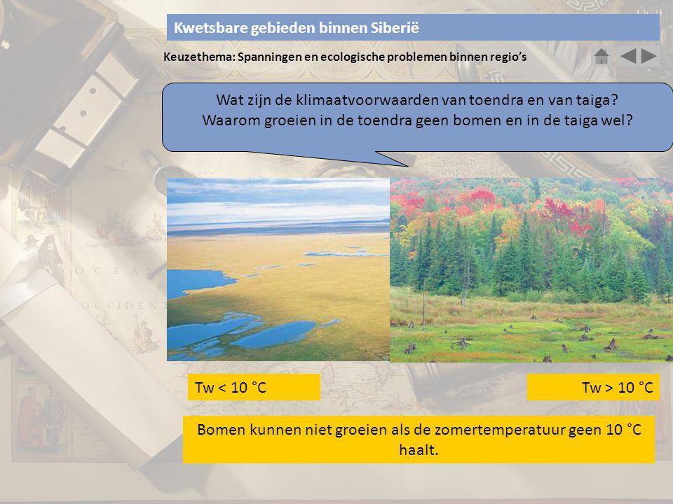 Keuzethema: Spanningen en ecologische problemen binnen regio's Wat zijn de klimaatvoorwaarden van toendra en van taiga? Waarom groeien in de toendra g