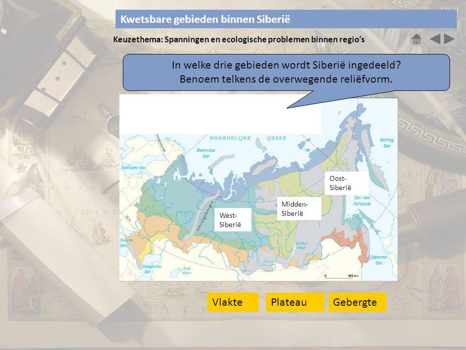 Keuzethema: Spanningen en ecologische problemen binnen regio's In welke drie gebieden wordt Siberië ingedeeld? Benoem telkens de overwegende reliëfvor