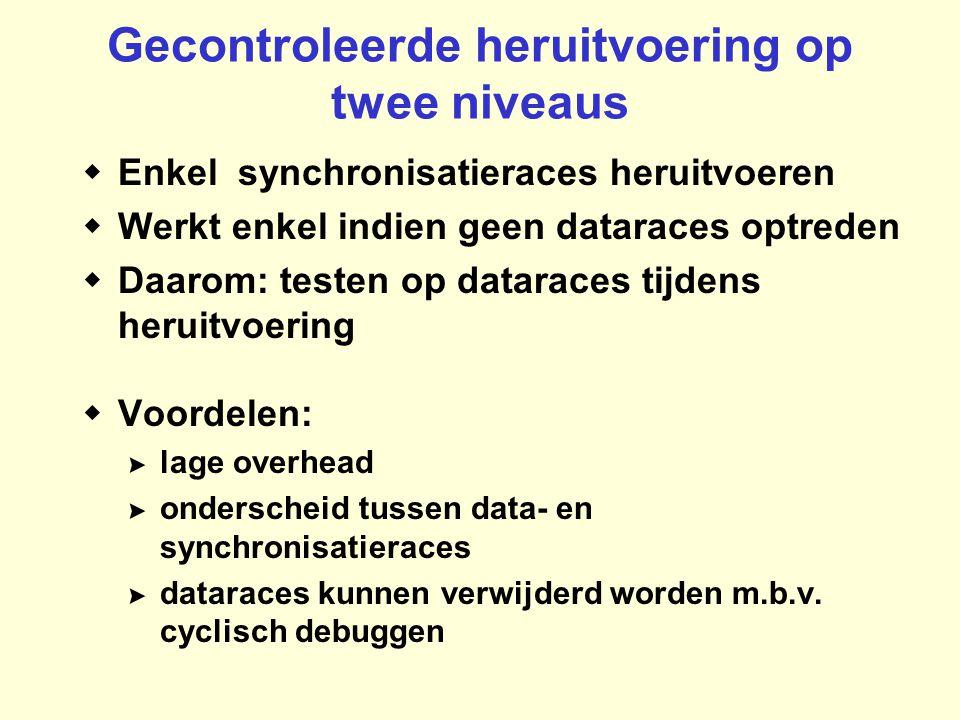 Gecontroleerde heruitvoering op twee niveaus  Enkel synchronisatieraces heruitvoeren  Werkt enkel indien geen dataraces optreden  Daarom: testen op dataraces tijdens heruitvoering  Voordelen: >lage overhead >onderscheid tussen data- en synchronisatieraces >dataraces kunnen verwijderd worden m.b.v.