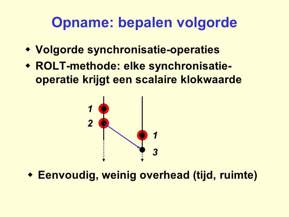  Volgorde synchronisatie-operaties  ROLT-methode: elke synchronisatie- operatie krijgt een scalaire klokwaarde Opname: bepalen volgorde 3 2 1 1  Eenvoudig, weinig overhead (tijd, ruimte)