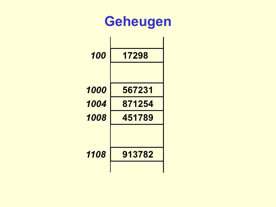 17298 913782 451789 871254 567231 100 1108 1008 1004 1000 Geheugen