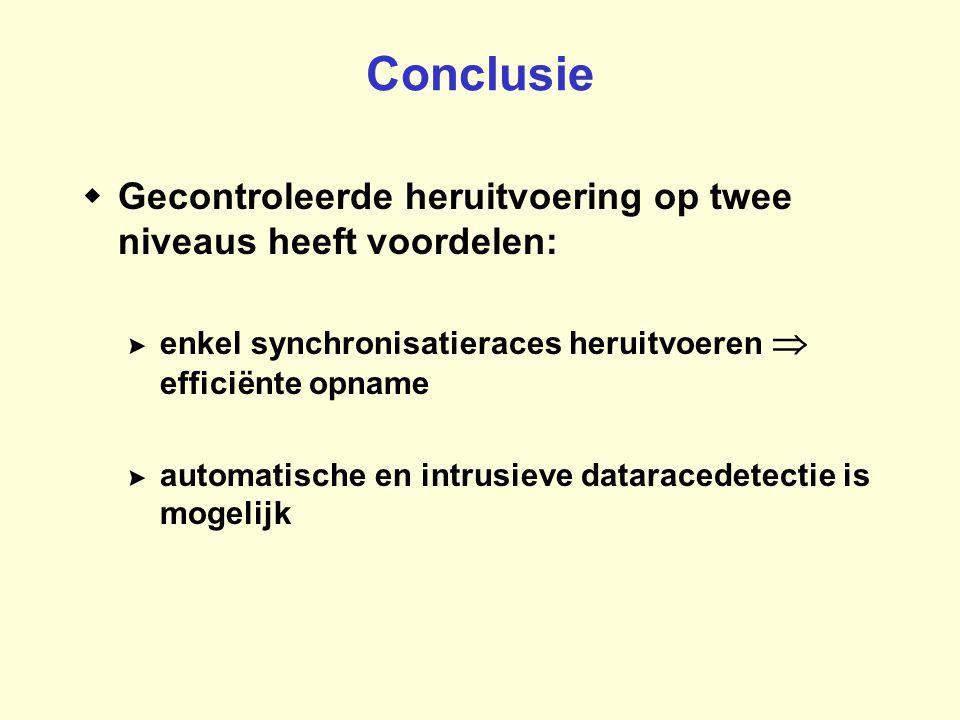 Conclusie  Gecontroleerde heruitvoering op twee niveaus heeft voordelen: >enkel synchronisatieraces heruitvoeren  efficiënte opname >automatische en intrusieve dataracedetectie is mogelijk