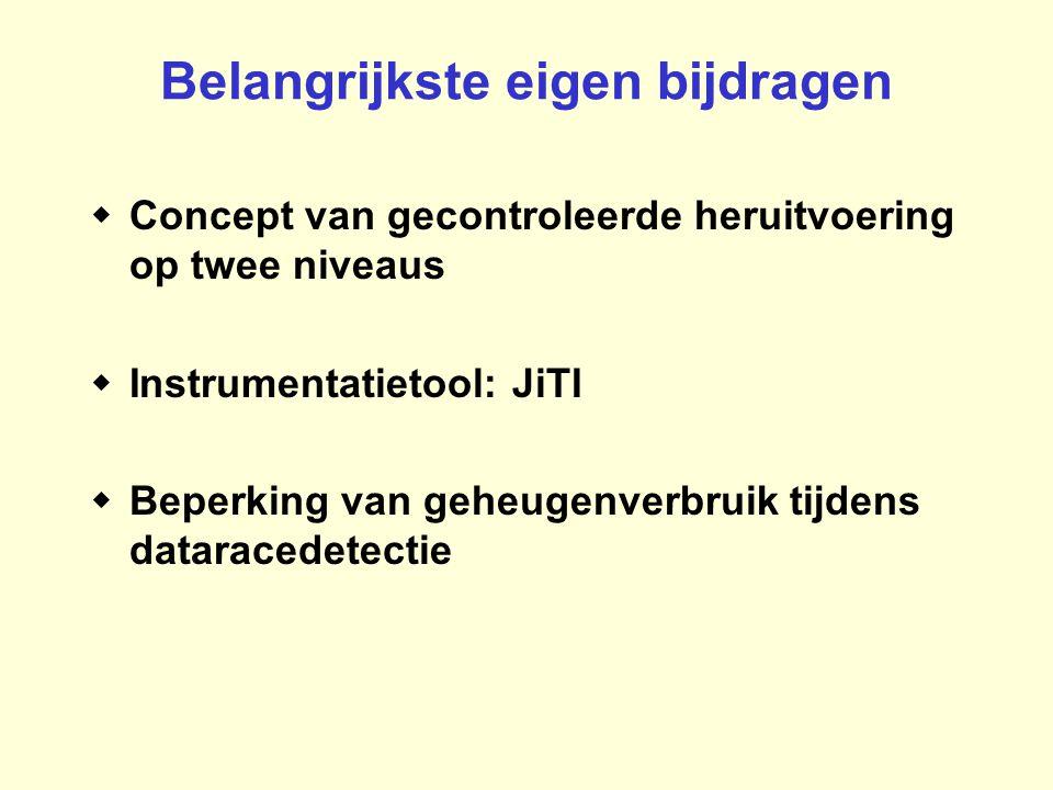 Belangrijkste eigen bijdragen  Concept van gecontroleerde heruitvoering op twee niveaus  Instrumentatietool: JiTI  Beperking van geheugenverbruik t