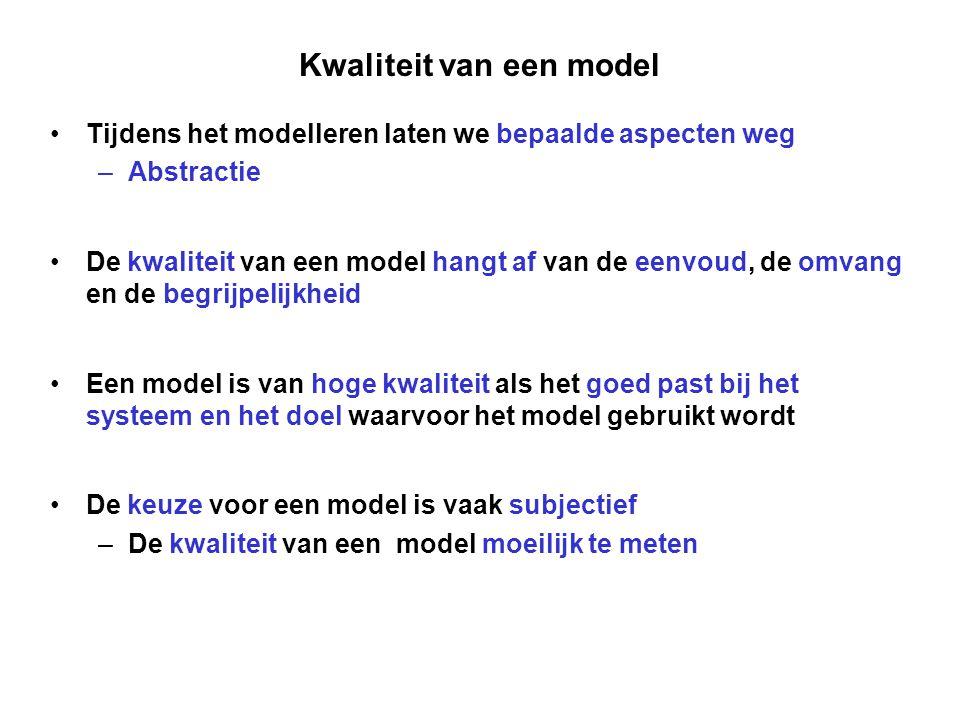 Kwaliteit van een model Tijdens het modelleren laten we bepaalde aspecten weg –Abstractie De kwaliteit van een model hangt af van de eenvoud, de omvan