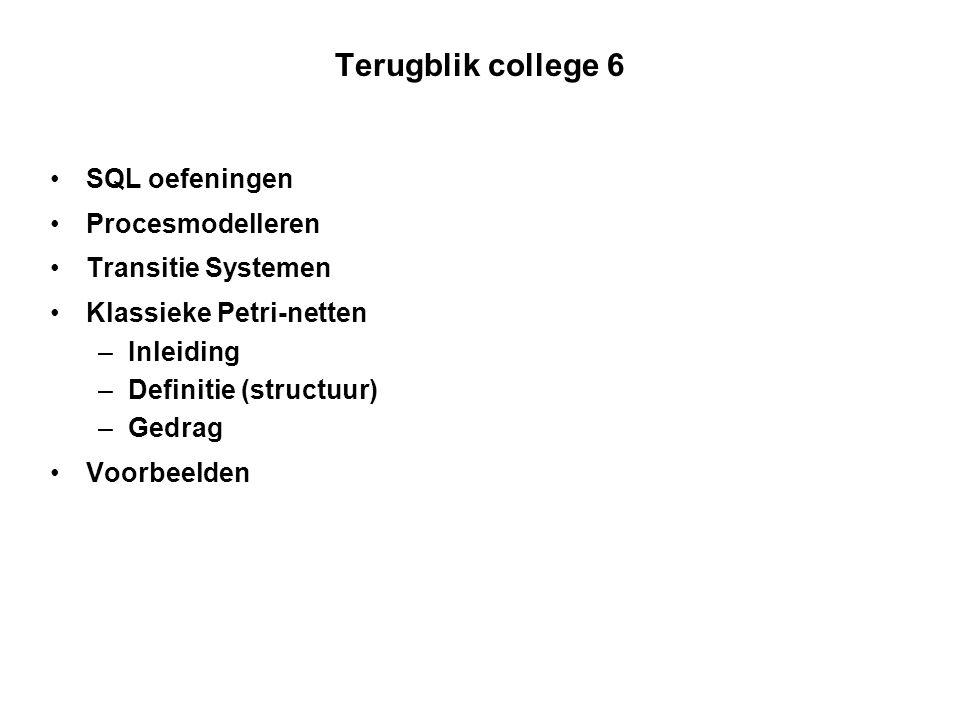 Onderwerpen college 7 Klassike Petri-netten –Formele definitie gedrag –Voorbeelden –Modelleren –Modelleren van biologische netwerken