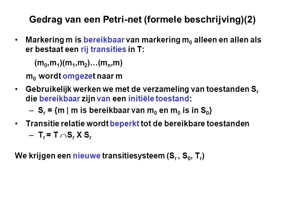 Gedrag van een Petri-net (formele beschrijving)(2) Markering m is bereikbaar van markering m 0 alleen en allen als er bestaat een rij transities in T: