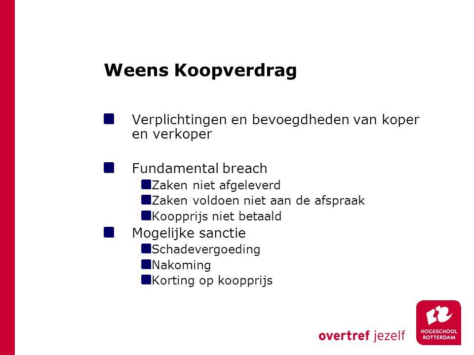 Weens Koopverdrag Verplichtingen en bevoegdheden van koper en verkoper Fundamental breach Zaken niet afgeleverd Zaken voldoen niet aan de afspraak Koo
