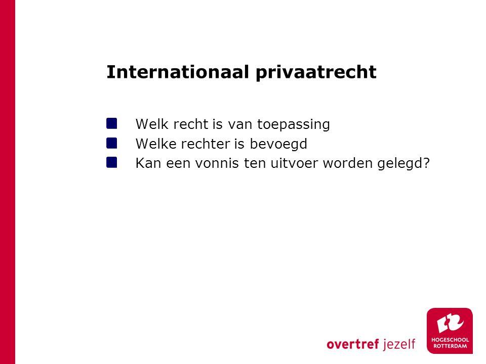 Internationaal privaatrecht Welk recht is van toepassing Welke rechter is bevoegd Kan een vonnis ten uitvoer worden gelegd?