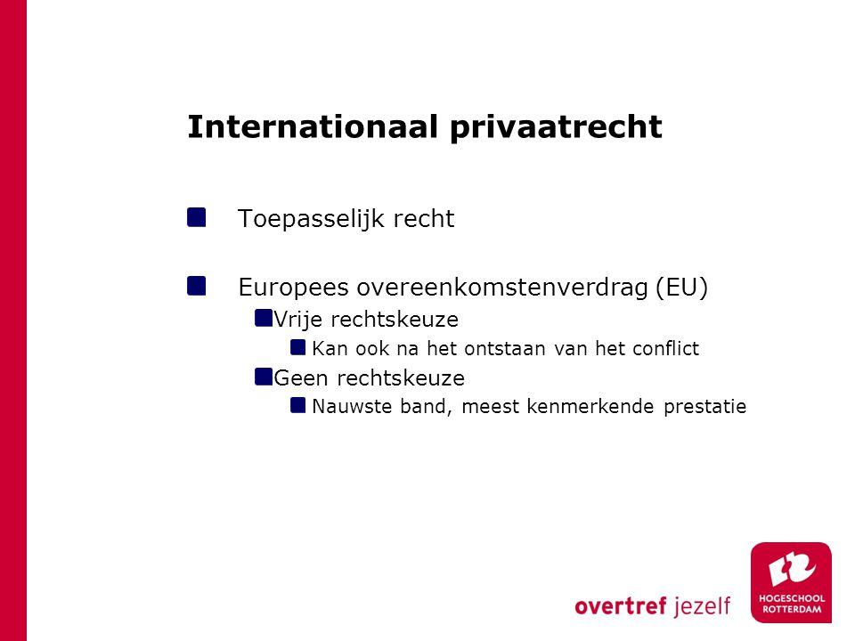 Internationaal privaatrecht Toepasselijk recht Europees overeenkomstenverdrag (EU) Vrije rechtskeuze Kan ook na het ontstaan van het conflict Geen rec