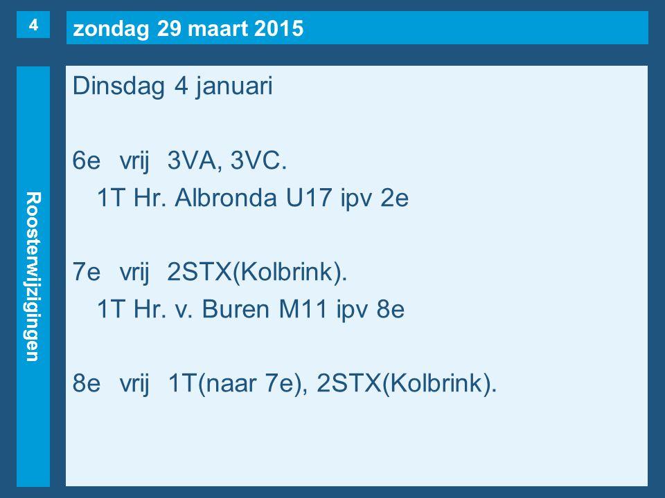 zondag 29 maart 2015 Roosterwijzigingen Woensdag 5 januari 1evrij2S, 2T(naar 5e), 2X(naar 4e), 3HB(naar 5e), 4H(Bijl).