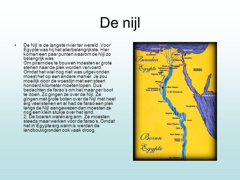 De nijl De Nijl is de langste rivier ter wereld. Voor Egypte was hij het allerbelangrijkste. Hier komen een paar punten waarom de Nijl zo belangrijk w