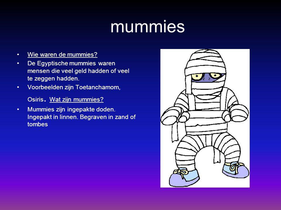 mummies Wie waren de mummies? De Egyptische mummies waren mensen die veel geld hadden of veel te zeggen hadden. Voorbeelden zijn Toetanchamom, Osiris.