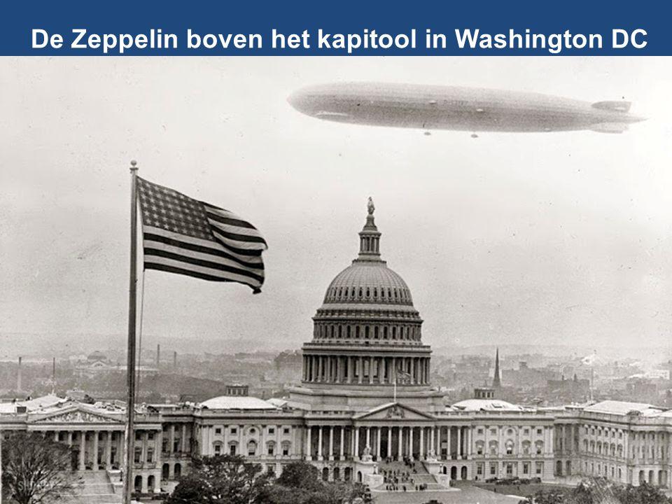 De Zeppelin boven het kapitool in Washington DC