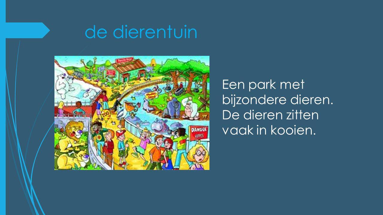 de dierentuin Een park met bijzondere dieren. De dieren zitten vaak in kooien.