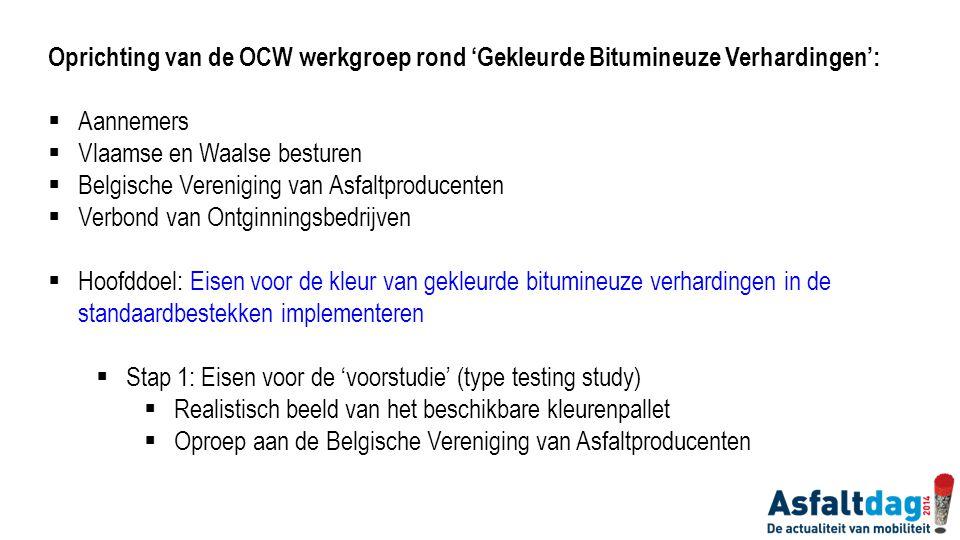 Oprichting van de OCW werkgroep rond 'Gekleurde Bitumineuze Verhardingen':  Aannemers  Vlaamse en Waalse besturen  Belgische Vereniging van Asfaltp