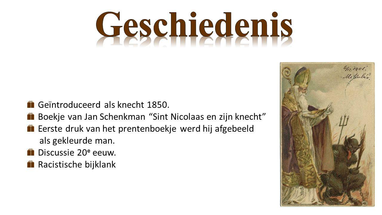 """ Geïntroduceerd als knecht 1850.  Boekje van Jan Schenkman """"Sint Nicolaas en zijn knecht""""  Eerste druk van het prentenboekje werd hij afgebeeld als"""