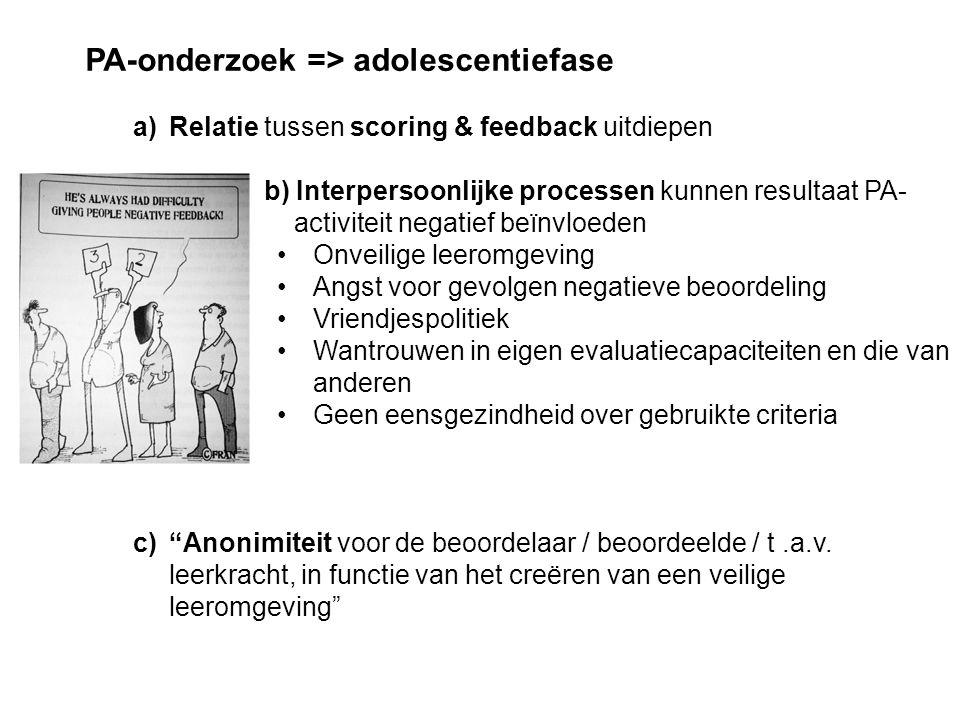 PA-onderzoek => adolescentiefase a)Relatie tussen scoring & feedback uitdiepen b) Interpersoonlijke processen kunnen resultaat PA- activiteit negatief beïnvloeden Onveilige leeromgeving Angst voor gevolgen negatieve beoordeling Vriendjespolitiek Wantrouwen in eigen evaluatiecapaciteiten en die van anderen Geen eensgezindheid over gebruikte criteria c) Anonimiteit voor de beoordelaar / beoordeelde / t.a.v.