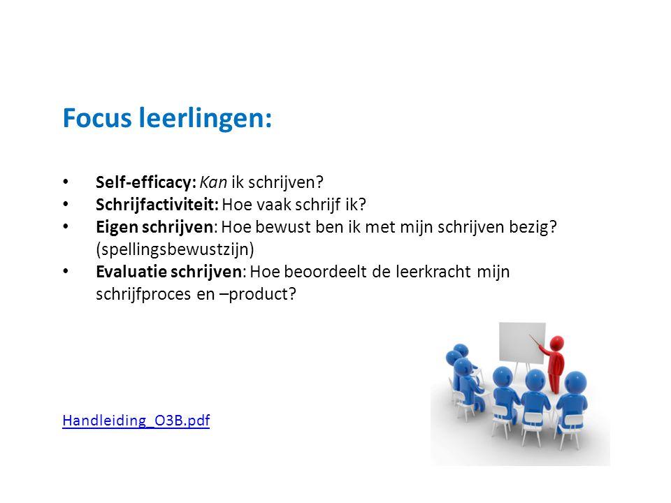 Focus leerlingen: Self-efficacy: Kan ik schrijven.