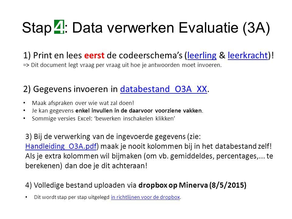 Stap : Data verwerken Evaluatie (3A) 2) Gegevens invoeren in databestand_O3A_XX.databestand_O3A_XX Maak afspraken over wie wat zal doen.