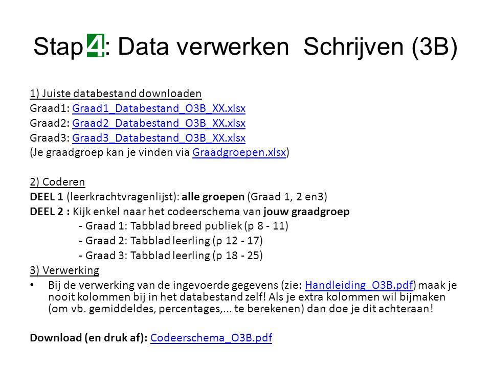 1) Juiste databestand downloaden Graad1: Graad1_Databestand_O3B_XX.xlsxGraad1_Databestand_O3B_XX.xlsx Graad2: Graad2_Databestand_O3B_XX.xlsxGraad2_Databestand_O3B_XX.xlsx Graad3: Graad3_Databestand_O3B_XX.xlsxGraad3_Databestand_O3B_XX.xlsx (Je graadgroep kan je vinden via Graadgroepen.xlsx)Graadgroepen.xlsx 2) Coderen DEEL 1 (leerkrachtvragenlijst): alle groepen (Graad 1, 2 en3) DEEL 2 : Kijk enkel naar het codeerschema van jouw graadgroep - Graad 1: Tabblad breed publiek (p 8 - 11) - Graad 2: Tabblad leerling (p 12 - 17) - Graad 3: Tabblad leerling (p 18 - 25) 3) Verwerking Bij de verwerking van de ingevoerde gegevens (zie: Handleiding_O3B.pdf) maak je nooit kolommen bij in het databestand zelf.