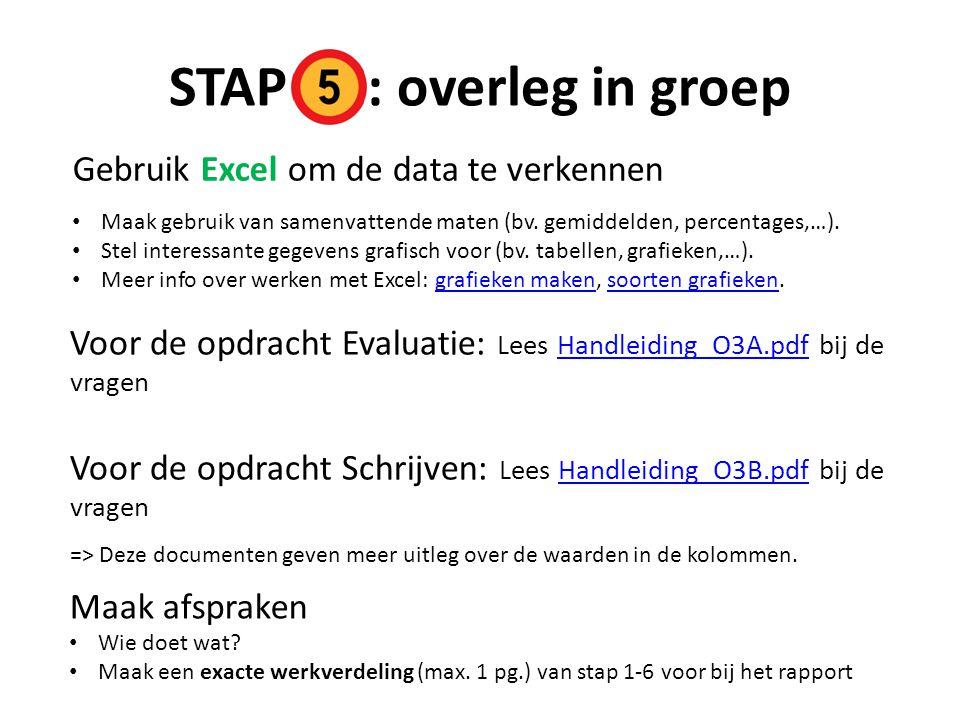 STAP : overleg in groep Gebruik Excel om de data te verkennen Maak gebruik van samenvattende maten (bv.