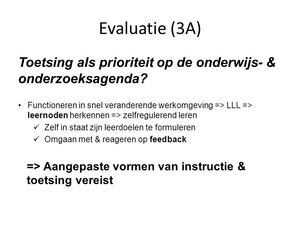 Evaluatie (3A) Toetsing als prioriteit op de onderwijs- & onderzoeksagenda.