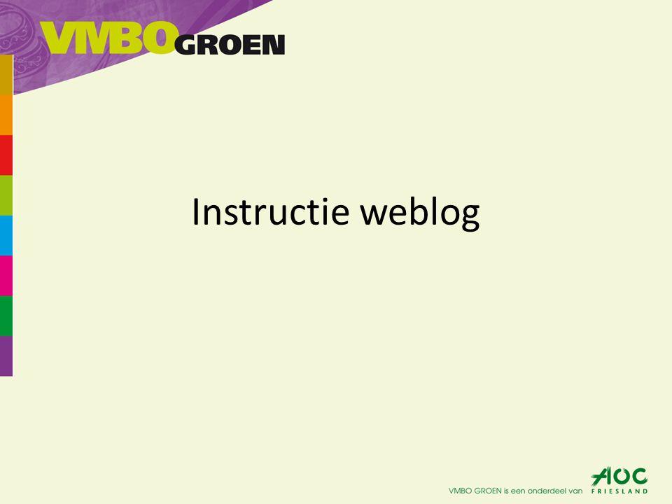 Start van je eigen weblog 1) Ga naar weblog.aocfriesland.nl 2) Je krijgt het volgende scherm te zien.