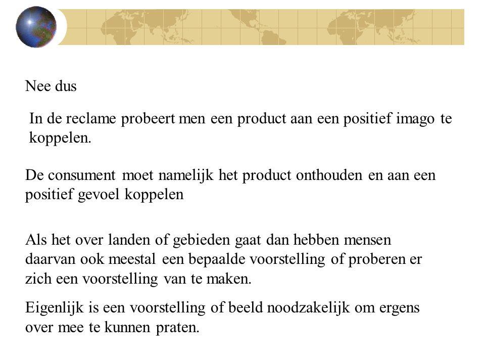 Nee dus In de reclame probeert men een product aan een positief imago te koppelen.