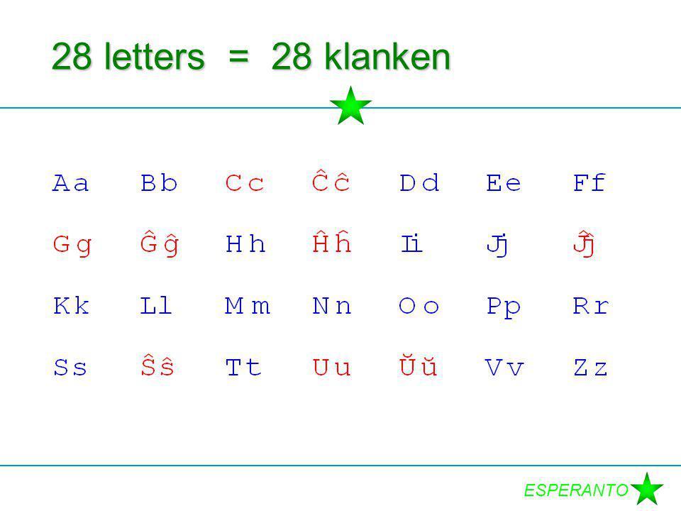 ESPERANTO 28 letters = 28 klanken