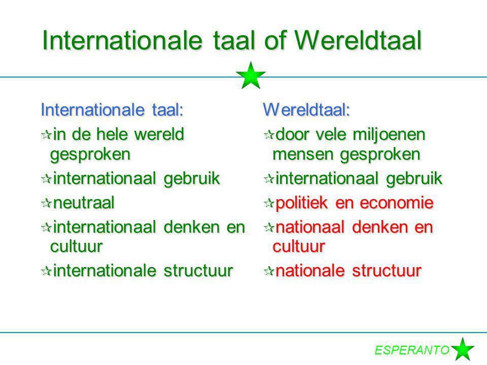 ESPERANTO Internationale taal: kenmerken  neutraal  relatief gemakkelijk  internationale structuur  internationale cultuur  ruim gesproken  internationaal denken  tolerantie bevorderen