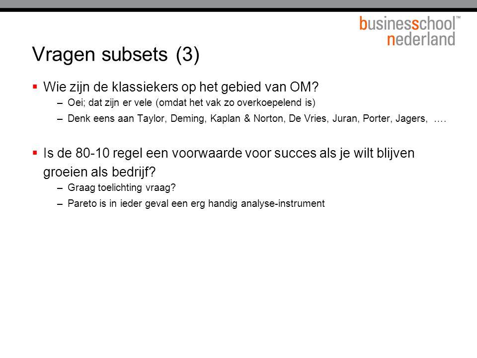 Vragen subsets (3)  Wie zijn de klassiekers op het gebied van OM.