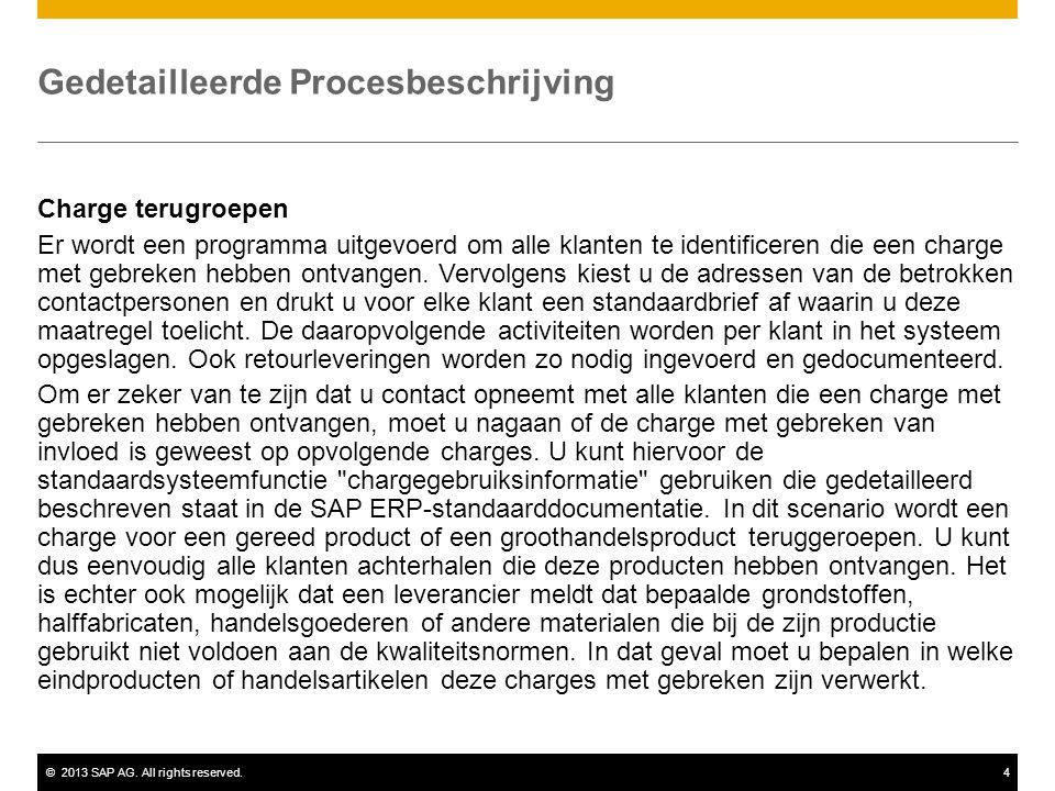 ©2013 SAP AG. All rights reserved.4 Gedetailleerde Procesbeschrijving Charge terugroepen Er wordt een programma uitgevoerd om alle klanten te identifi